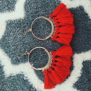 Red fringe drop earrings